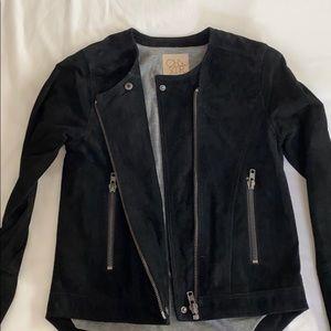 Chaser (Cha Sor) XS moto suede black zip jacket